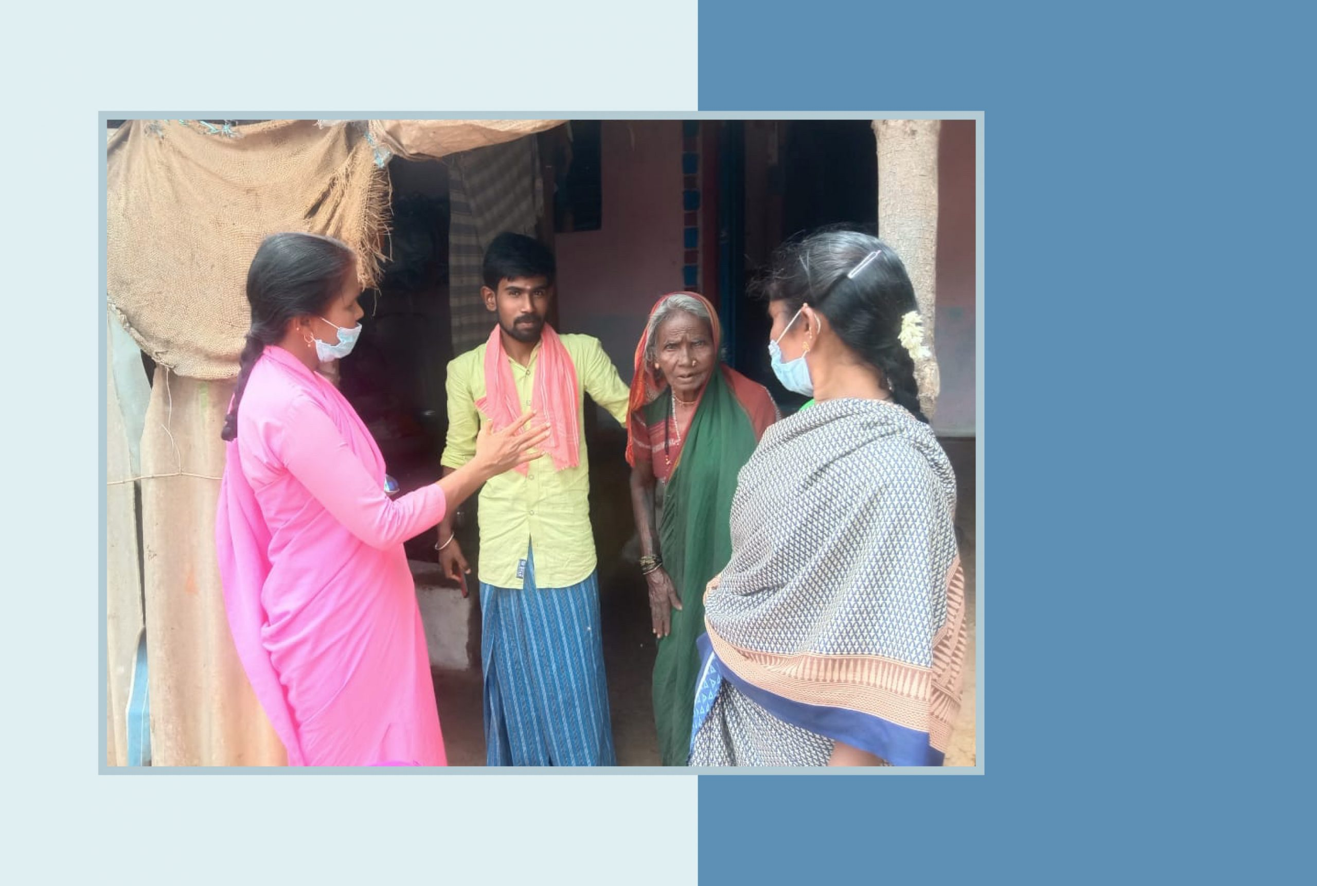 An image of ASHA workers talking to people in a village in rural Karnataka about healthcare precautions, set against a blue background