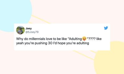 """Image of a tweet from @SJoey79: """"Why do millennials love to be like """"Adulting😝""""???? like yeah you're pushing 30 I'd hope you're adulting"""""""