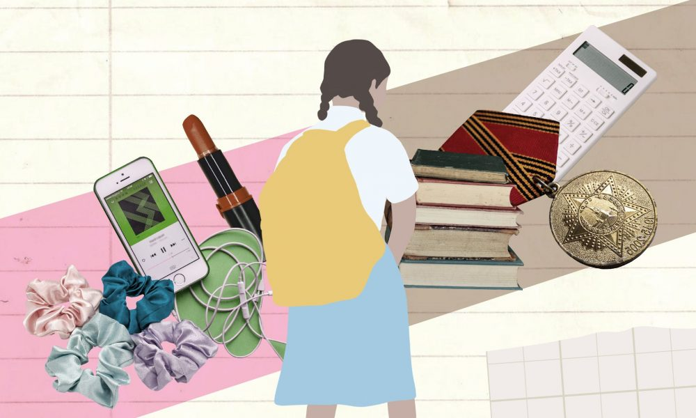 A collage with a school girl in the middle and different elements on both sides. On the left there is a lipstick, colourful hair-ties and a mobile phone and earphones. These are things that tend to be associated with 'bad girls'. On the right, there is a stack of books, commonly associated with being a good girl. The purpose of the image is to portray this binary of good and bad.