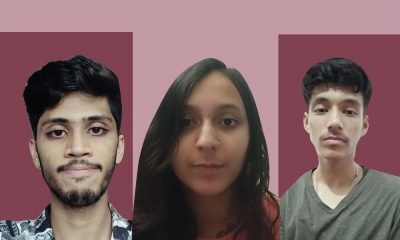 Screenshot of the faces of college students Allen David James (L), Puja Bose (centre) and Prateek Chauhan (R) taken from the video