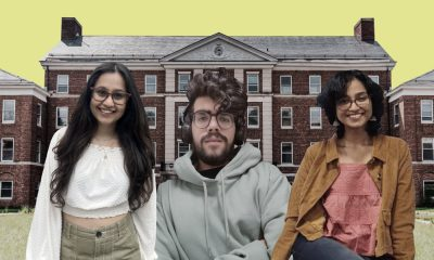 Image showing three Indian students, Gaura Naithani, Vishnu Velluri and Sai Shraddha Suresh, in front of a university building in another country
