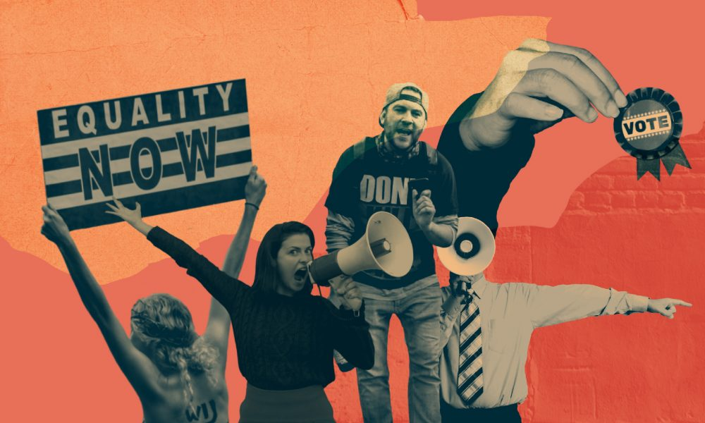 Image showing cutouts of people protesting for equality and politics, two shouting on bullhorns, against a red background