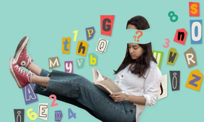 Image of a young girl sitting and reading, with a question mark on her head and letters in the blue background to show confusion