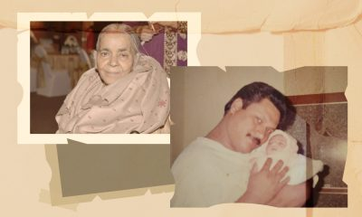 A photo collage with a photo of Shakuntala and a childhood photo of Gabriella Symms' father holding her as an infant.