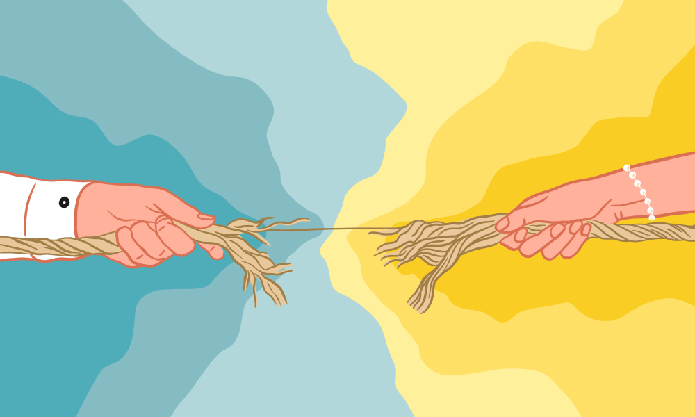 Illustration showing two arms on opposite sides tugging on a rope that is splitting in the middle, set against a blue and yellow background