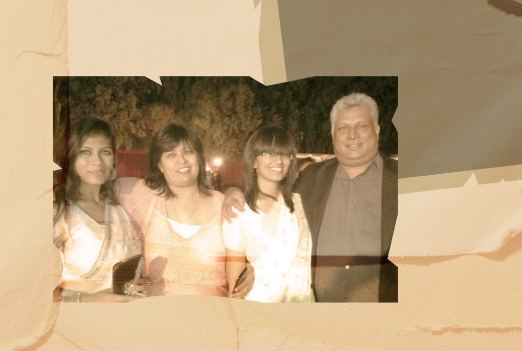 A photo of the Symms family — parents and their two daughters against a rustic, sepia background reminiscent of an old photo album