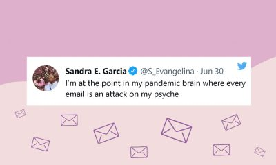"""Image of a tweet from @S_Evangelina: """"I'm at the point in my pandemic brain where every email is an attack on my psyche."""""""