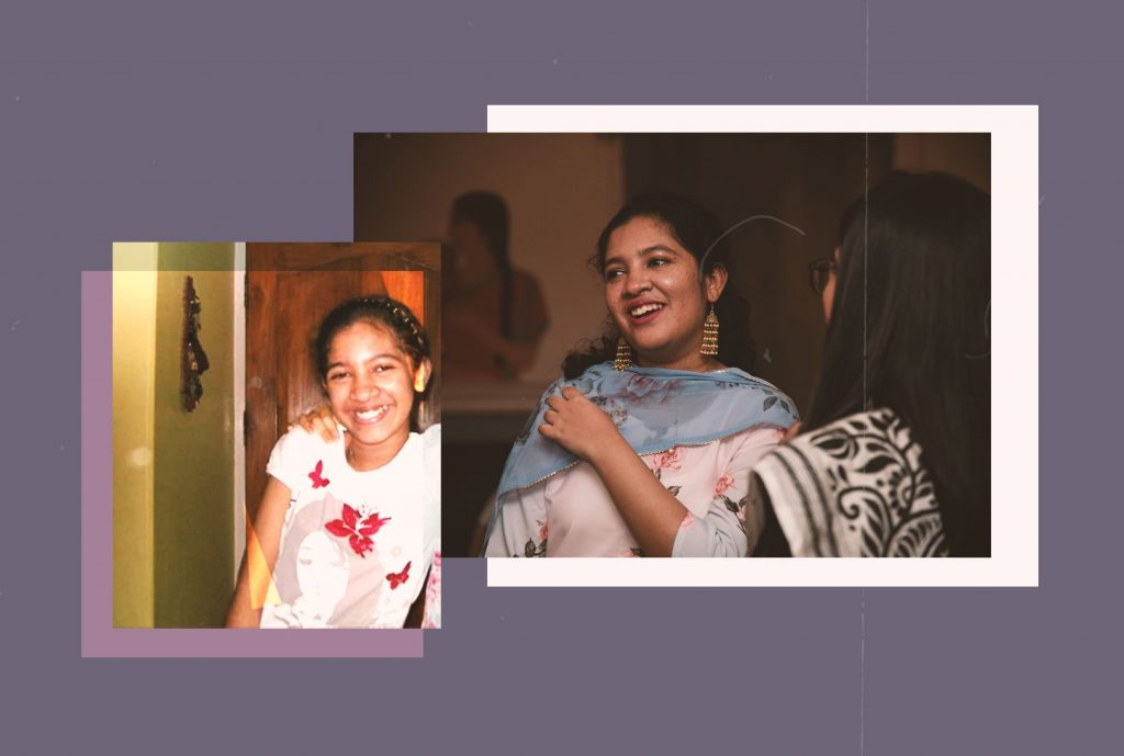 A collage with a photo of the author from her childhood on the left, and a photo from the present-day on the right.