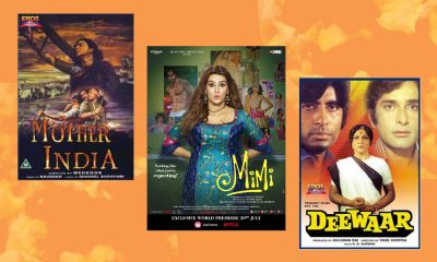 An orange background with three Bollywood movie posters on it: from left to right: the poster of the Bollywood movie 'Mother India,' 'Mimi' and 'Deewar.'
