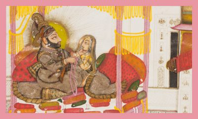 Image of traditional Mughal style painting depicting a husband and wife sitting together and talking