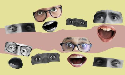 Image showing cut-outs of faces, with eyes and mouths looking shocked against a yellow and pink background