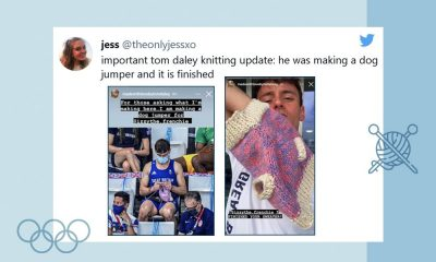 """Image of a tweet from @theonlyjessxo: """"important tom daley knitting update: he was making a dog jumper and it is finished."""" The tweet has two images that are screenshots of Tom Daley's Instagram stories where he mentions he has been knitting a dog jumper."""