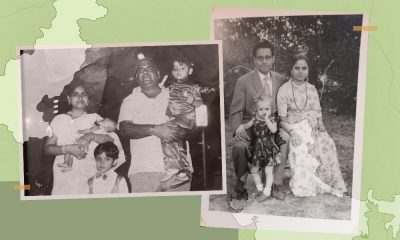 A collage of family photos from those who migrated from Pakistan to India placed against a green background with the map of both countries.