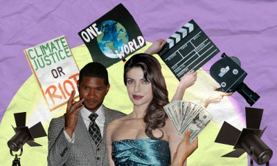 a purple and yellow collage of Usher and Priyanka Chopra Jonas with cutouts of two spotlights, a camera, a clapboard and two activism posters