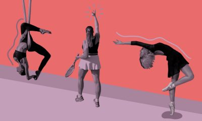 a collage of a ballerina doing a pose, a gymnast and a tennis player against a peach and pink backdrop