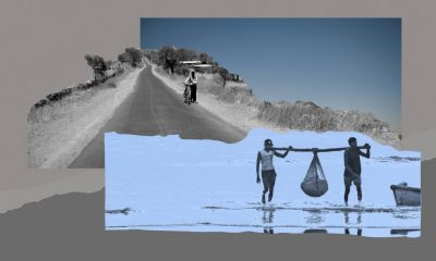 A collage comprising of two images on a grey background. One image shows two fishermen carrying a net full of fish on a shore. The other shows a farmer dragging his cycle on a road in between parched fields