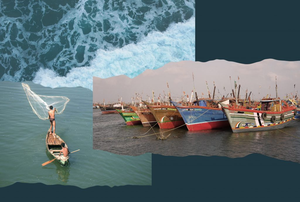 A collage composed of two images on a blueish-black background. One of them shows two fishermen in the middle of the sea in Gujarat. The other photos shows trawlers boats lined up on Kutch's coast