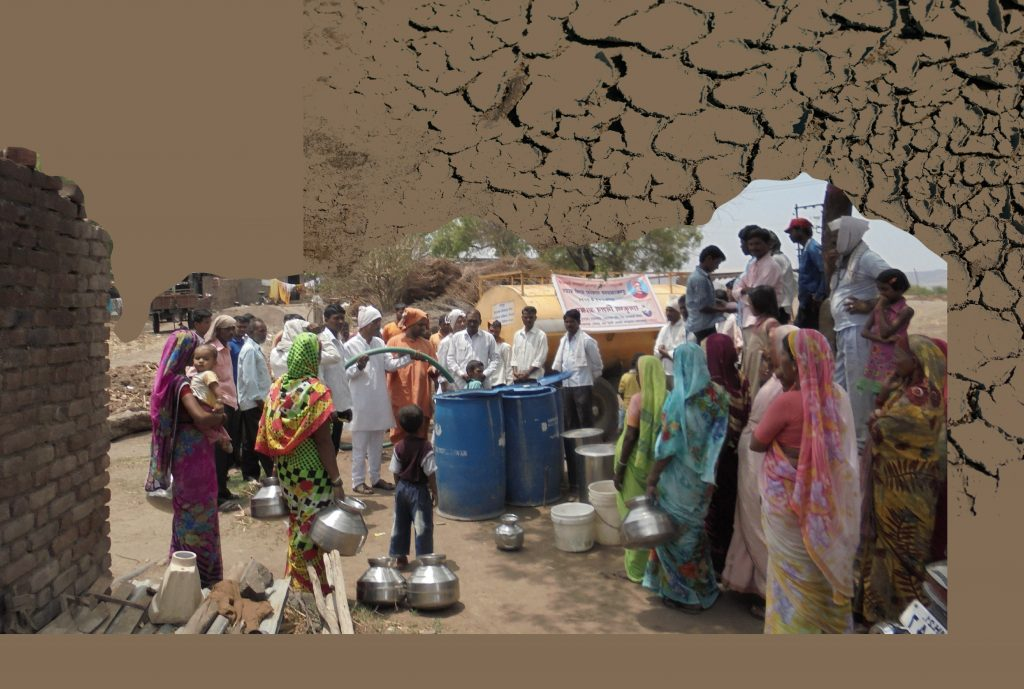 A photo of famers and their families waiting to fill water from tanks during the 2016 droughts, placed against a brown backdrop with a cracked soil texture